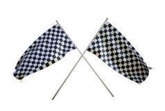 Checker flags. Crossed checker flags isolated on white royalty free stock images