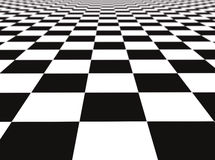 Checker floor. A large black and white checker floor background pattern. Shallow depth of focus Stock Photo
