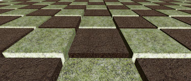 Checker pattern dirt and grass Royalty Free Stock Photos