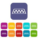 Checker taxi icons set. Vector illustration in flat style In colors red, blue, green and other Royalty Free Stock Images