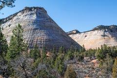 checkerboard απότομων βράχων φυσική αμερικανική Utah όψη ψαμμίτη πάρκων mesa εθνική zion Στοκ Φωτογραφίες