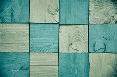 Checkerboard μπλε και γκρίζο ξύλο Στοκ Φωτογραφίες