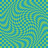 Checkerboard στρέβλωση στο μπλε και πράσινος Στοκ Εικόνα