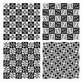 Checkerboard σχεδίασε τα λεπτά απλά εκλεκτής ποιότητας σχέδια άσπρος και μαύρος Στοκ Εικόνα