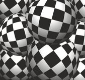 Checkerboard background balls. Background of colored balls under the chessboard Stock Images