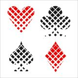 Checkerboard card suit icon vector, playing cards symbols vector. Set icon symbol suit, card suit icon sign, icon - stock vector royalty free illustration