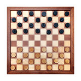 Checkerboard with checkers spaced. Wooden checkerboard with checkers spaced isolated on white Stock Photography