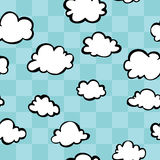 Checkerboard Clouds Seamless Pattern. A seamless pattern of clouds with a checkerboard blue sky Royalty Free Illustration