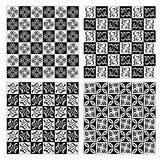 Checkerboard designed fine simple vintage patterns in white and black Stock Image