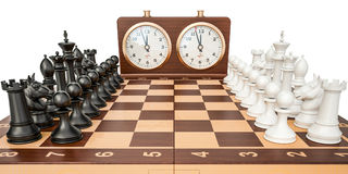 Checkerboard with figures and chess clock, 3D rendering Royalty Free Stock Images