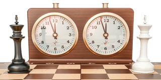 Checkerboard with kings and chess clock, confrontation concept. Stock Images