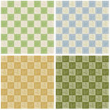 Checkerboard Leaves Seamless Pattern. Vector art in Illustrator 8. Seamless repeating wallpaper pattern of leaves on checkerboard. Four color variations. Drag Stock Photos