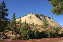 Checkerboard Mesa Mountain Zion NP Stock Photo