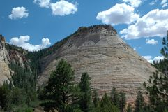 Checkerboard Mesa in Zion National park in Utah USA. Zion National Park in Utah with spectacular views of mountains and rock formations like Checkerboard Mesa royalty free stock photos