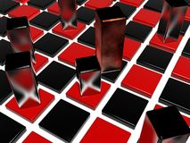 Checkerboard and metal pieces Stock Photography