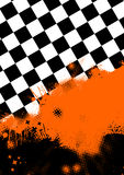 Checkerboard and orange paint Royalty Free Stock Image