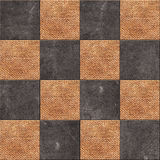 Checkerboard pattern background, squares from laither and burlap Stock Photography
