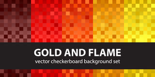 Checkerboard pattern set Gold and Flame Stock Photos