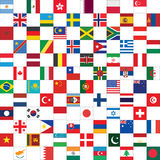 Checkerboard pattern with world flags Stock Photos
