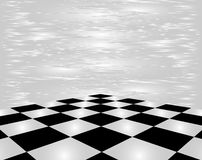 Checkerboard in perspective on a white background. Royalty Free Stock Photography