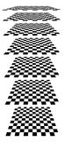 Checkerboards, chessboards, checkered planes in different perspe Royalty Free Stock Images