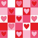 Checkerd Hearts. Pink, red and white checkered background pattern with hearts royalty free illustration