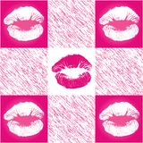 Checkerd Lip Print Pattern Royalty Free Stock Photos