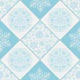 Checkered безшовная картина с снежинками Стоковая Фотография RF