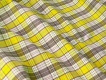 checkered близкая ткань вверх по желтому цвету Стоковые Фотографии RF