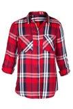 Checkered блузка изолированная на белизне Стоковые Изображения