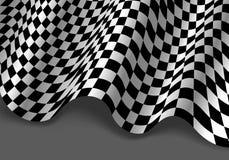 Checkered волна летания флага на сером векторе предпосылки чемпионата гонки спорта дизайна Стоковое Изображение