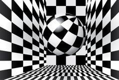 Checkered комната с шариком Стоковое Изображение