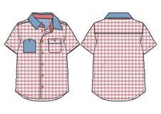 Checkered коротк-sleeved вскользь рубашка иллюстрация вектора