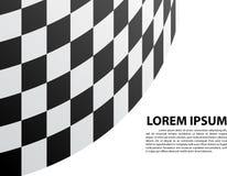 Checkered кривая на белой гонке спорта дизайна места текста пустого пространства Стоковое Изображение RF