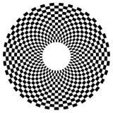 Checkered круговой элемент Абстрактный monochrome график с squ Стоковое фото RF