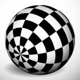 Checkered сфера 3d с shading и тенью Шар, шарик с squa Стоковые Фото