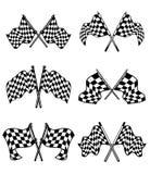 Checkered установленные флаги Стоковая Фотография RF