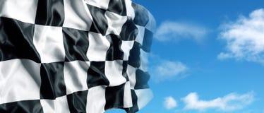 Checkered флаг и небо Стоковые Фото