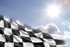 Checkered флаг и небо Стоковое Изображение