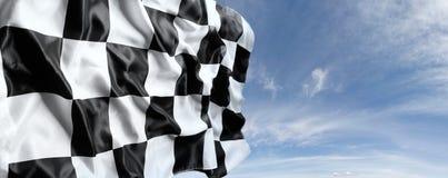 Checkered флаг и небо Стоковые Изображения RF
