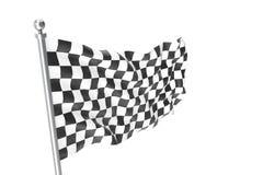 checkered флаги Участвующ в гонке флаг, перевод 3d изолированный на белизне Стоковые Фотографии RF