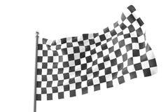 checkered флаги Участвующ в гонке флаг, перевод 3d изолированный на белизне Стоковые Изображения RF