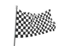 checkered флаги Участвующ в гонке флаг, перевод 3d изолированный на белизне Стоковая Фотография RF