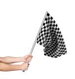 Checkered флаг в руке Стоковая Фотография RF