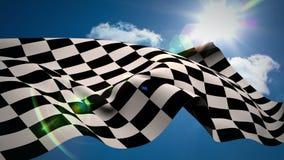 Checkered флаг против голубого неба иллюстрация штока