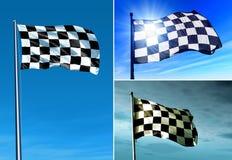 Checkered флаг развевая на ветре Стоковая Фотография RF