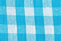 Голубая checkered холстина как предпосылка Стоковая Фотография