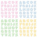 Checkered Alphabet in vier Pastellfarben Stockfotos