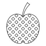 Checkered apple icon, outline style Stock Photo