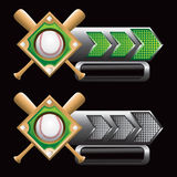 Checkered arrows with baseball diamond and bats Stock Images
